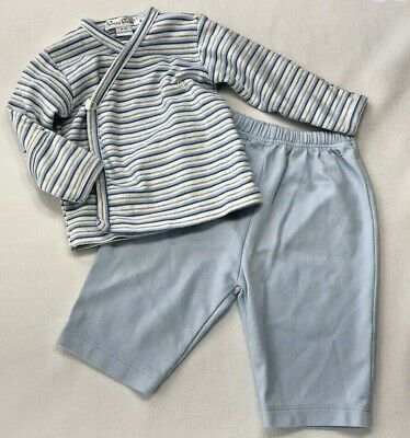 Kissy Kissy Baby Boys 0-3 Months LIght Blue Striped Wrap Shirt and Pants Outfit