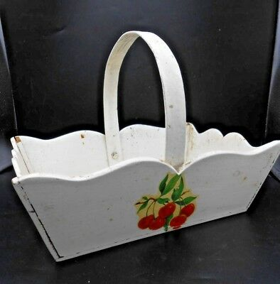 Antique 40's Vintage Painted Kitchen Basket Cute Cherry Decals Bent Wood Handle