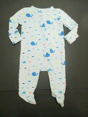 Infant Boys Angel Dear Bamboo Blue Whale Sailboat Footie Outfit Size 0-3 Months