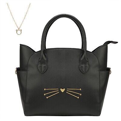 Women's Large Cross Body Black Cat Spacious Fashion Cute Leather Tote Purse