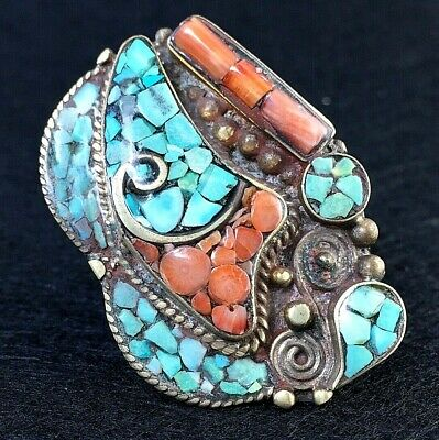 ancient style ring tibetan turquoise carnelian alpacca silver antique vintage