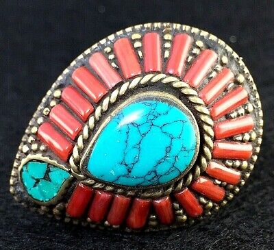ancient style Tibetan ring turquoise coral gem alpacca antique vintage