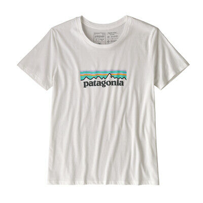BANK HOLIDAY SALE! Patagonia Womens Pastel P-6 Logo Organic Crew T-Shirt White
