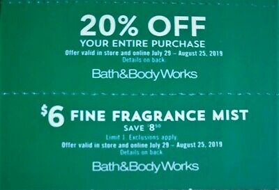 2 Bath & Body Works Coupons 20% Off + $6 Fragrance Mist Exp 8/25 In-Store Online