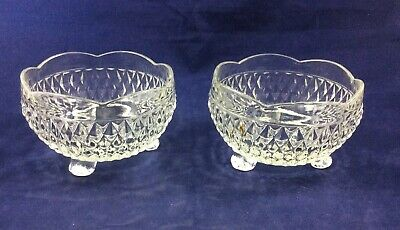 2 Vintage Clear Glass 3 Footed Candy Dish Scalloped Edge Diamond Pattern