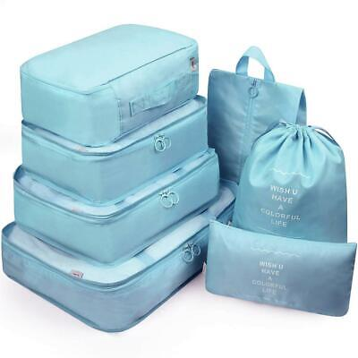 7 Set Luggage Organizer Packing Cubes For Travel Compression Cells (Lake Blue)