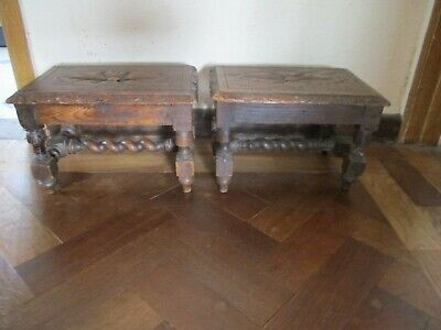 Pair Of Lovely Antique Oak Foot Stools ? Apprentice Tables? Nicely Hand Carved