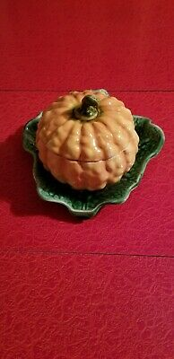 Antique French Sarreguemines Majolica Pumpkin Jam Pot 1880-1900