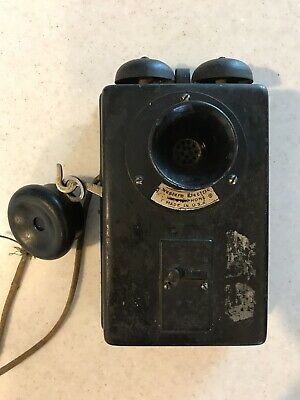 Antique Metal Cased Interphone Telephone Western Electric Wall Mount