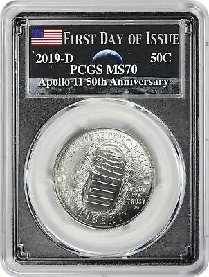 2019-D Apollo 11 50th Anniversary Commem Half PCGS MS70 FDOI Earth Rising Moon