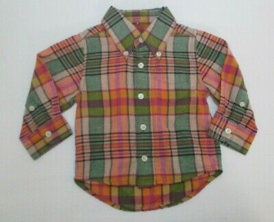Infant Boys Peek Little Peanut Green Peach Button Down Shirt Size 6-12 Mon