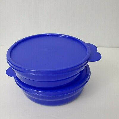 Tupperware Microwave Reheatable Cereal Bowls w/Seals Lot of 2 Purple