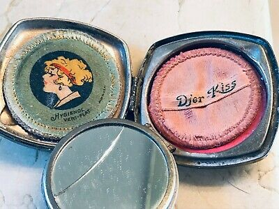 Vintage Djer-Kiss  SilverPlate  Compact  Art Noveau Fairies  All Intact