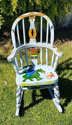 Slovenian Folk Art Child's Rocking Chair, Dragon, Bees, Beehives REDUCED PRICE