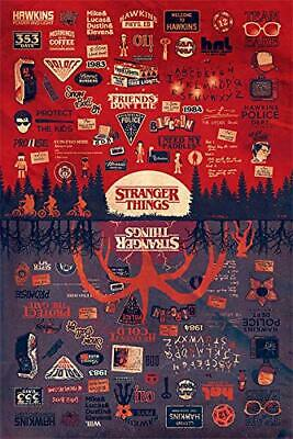 New - STRANGER THINGS The Upside Down Infographic TV Art Poster Print 24 x 36