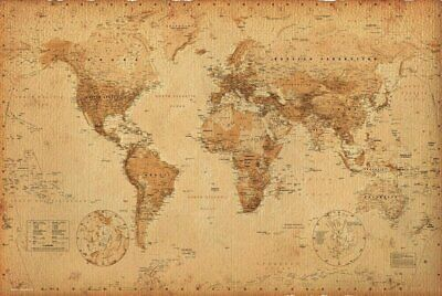 New - Antique Old World Map Art Poster Print 24 x 36