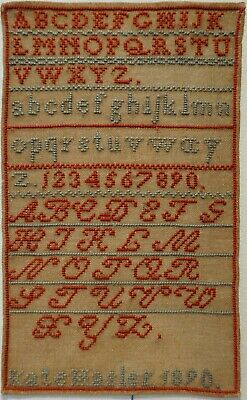 Small Late 19Th Century Alphabet Sampler By Kate Hasler - 1890