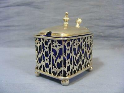 Fine Victorian Solid Silver Reticulated Oblong Mustard Pot & Glass Liner  1900