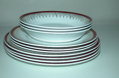 """Alfred Meakin Glo White Royalty 4 X 10"""" Dinner Plates 3 X 9""""  3  X 7.25"""" Bowls"""