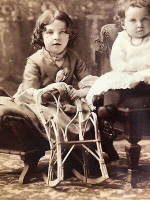 Antique Cabinet Card Sepia Beautiful Photo Sweet Children Toy Wicker Chair