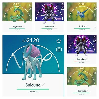 pokemon go account legendary Armored Mewtwo SUICUNE Cp2120  Latios Rayquaza