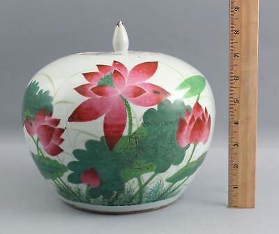Large Antique Chinese Lotus Flower Export Porcelain Ginger Jar, Calligraphy Poem