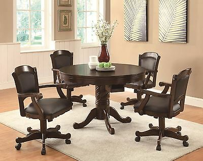 Carved Wood 3 In 1 Poker Bumper Pool Game Dining Table 4 Rolling Arm Chairs Sale