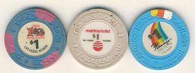 3 Different Vintage Las Vegas Casino Chips - Plaza - Marina - Flamingo