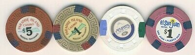 4 Different Vintage Casino Chips - Bahamas & Puerto Rico