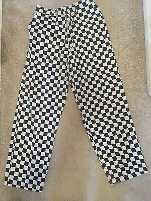 1 Medium Portwest Back & White chequered Chef Trousers