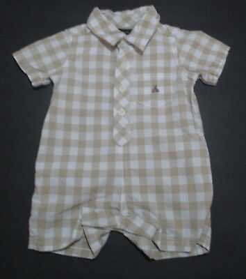 Infant Boys Baby Gap Beige Check Gingham Button Shortall Outfit Size 3-6 Mon #2
