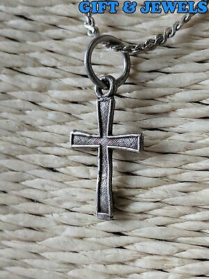 """VINTAGE STERLING SILVER CROSS NECKLACE 14"""", 2.4 G, 925 #ad903"""