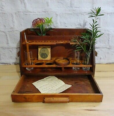 Vintage Wooden Apothecary Test Tube Bottle Scientific Stand Holder w/ Drawer