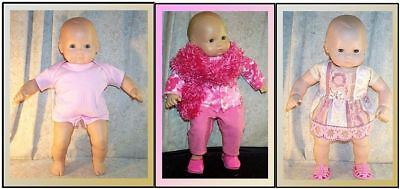"""Doll Clothes Made2Fit American Girl Bitty Baby 15"""" Lot 5 pcs Dress Jacket Fleece"""