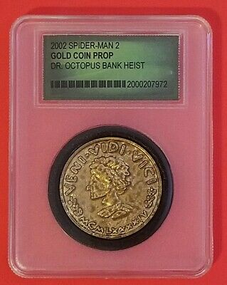 Spiderman II Dr Octopus Bank Heist Gold D'Oro Coin Prop from movie AUTHENTICATED