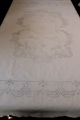 Vintage Traced Linen Tablecloth - Unworked Cross Stitch to Embroider
