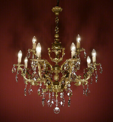 brass crystal cherubs chandelier old fixtures ceiling lamp 12 light lustre used