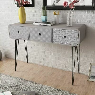vidaXL Console Table with 3 Drawers Grey Hallway Display Desk Plant Stand