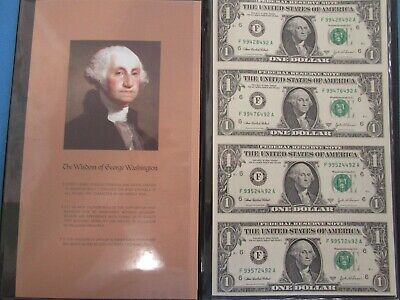 US 2003 A Uncut Sheet of 4 $1 Notes in a Special  Collectors Folder