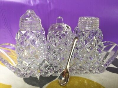 Sparkly Vintage Lead Crystal 3 Piece cruet set in tray with tiny epns spoon