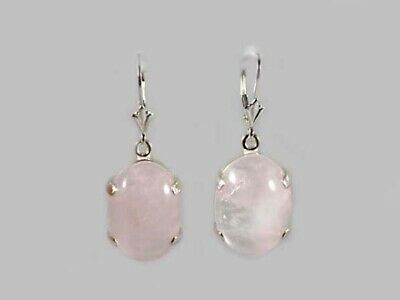 18thC Antique 19ct Rose Quartz Earrings Roman-Assyrian Love Gem Greek Eros Cupid
