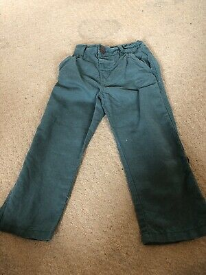 Linen Cotton Blend Green Trousers Age 2-3yrs From Next