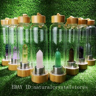Natural Quartz Crystal Obelisk Point Wand Elixir Water Bottle Reiki Rock Healing