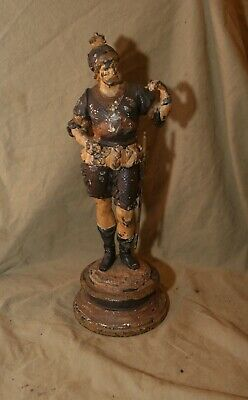 Antique Heavy Art Nouveau Hand Painted Cast Metal Sculpture Man As Found w Loss