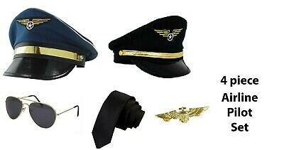 35abff380 CAPTAIN PILOT FANCY Dress Costume Accessory Hat Aviator Glasses ...