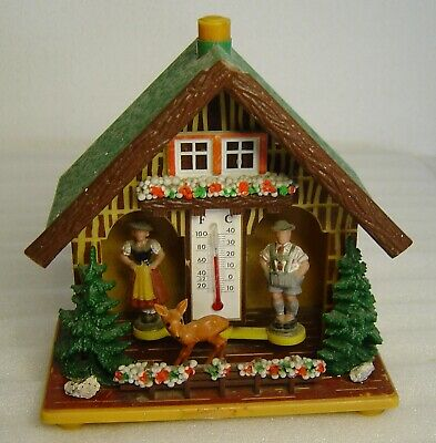 vintage 60s Bambi Black Forest chalet weather house with thermometer