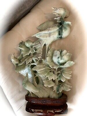 Hand Carved Asian Birds & Florals Jade Stone Marble Alabaster Statue ~ Wood Base