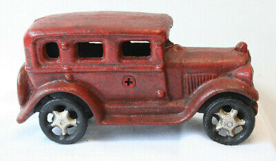 Antique Vintage Style Cast Iron Red Sedan Toy Car Hot Rod Reproduction