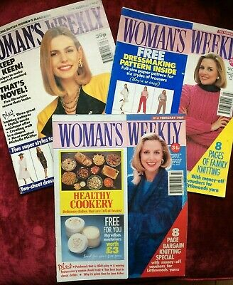 WOMAN'S WEEKLY collection of 3 magazines from 1989/1991