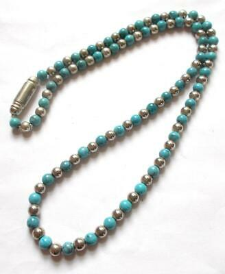 Vintage Native American Navajo Style Turquoise Coloured Art Glass Necklace Beads